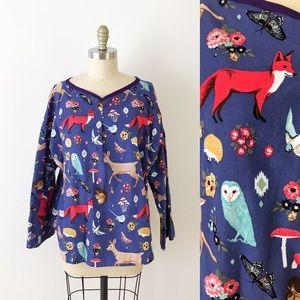 Tops - Fox Owl Mushroom Deer Print Corduroy Top Blouse
